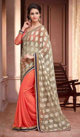 Saree Orange , Beige,Georgette
