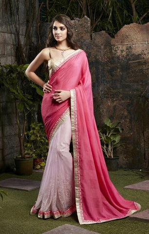 Pink,Georgette,Designer party wear saree with designer blouse
