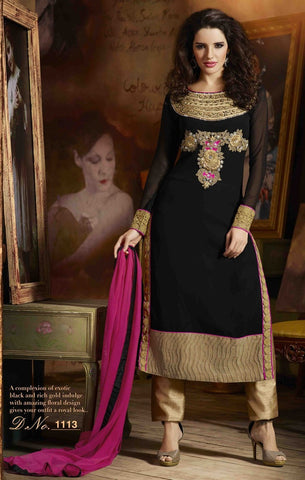 Georgette suits,dupatta : chiffon,color : black