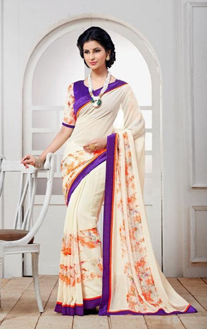 White , purple,Georgette,designer causal broder saree with printed blouse