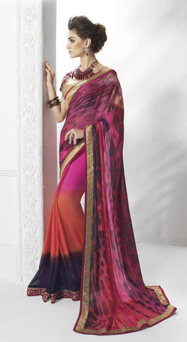 Golden,Art Silk , Faux Georgette,Designer party wear saree with designer blouse