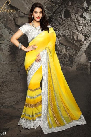 Yellow & Silver Pure Chiffon Saree With Sliver Blouse