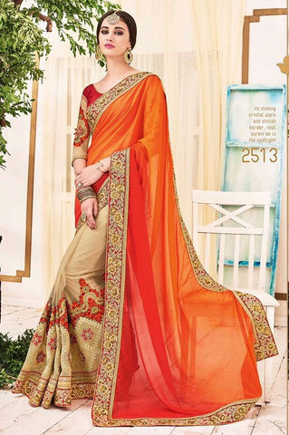 Georgette & Net,Designer heavy party wear saree