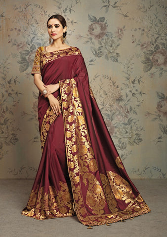 Maroon Silk Party Wear Saree With Maroon Blouse