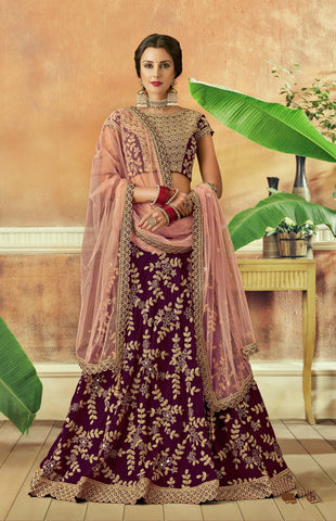 Wine Taffeta Silk Party Wear Lehenga With Pink Dupatta