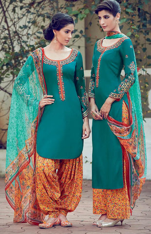 Green , orange,Cotton,Patiyala suits designer suits