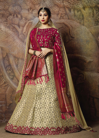 Cream Silk Party Wear Lehenga With Pink Choli