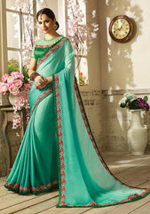 Green Silk Saree With Velvet Green Blouse