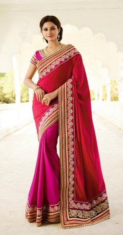 Red , Pink,Chiffon,Heavy party wear bridal designer saree