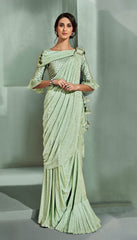 Pista Green Lycra Party Wear Saree With Pista Green Blouse