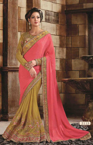Beige , PInk,improtant,Heavy designer party wear saree