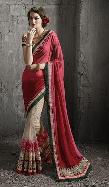 Red , Beige,Net,Heavy wedding wear designer saree