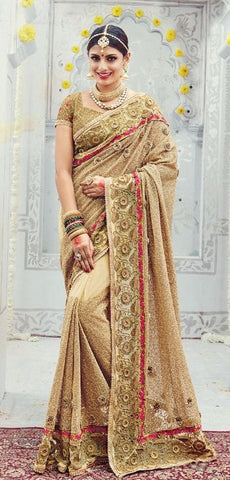 Beige  ,Georgette,heavy designer party wear saree