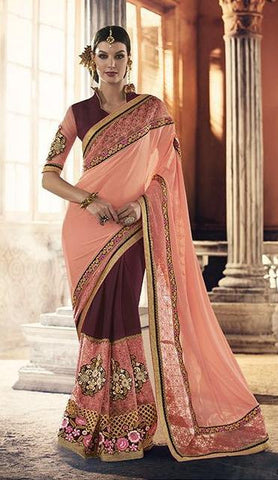 Peach , Brown,Georgette,Heavy party werar designer saree