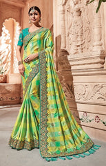 Green Banarsi Silk Party Wear  Saree With Cyan Blouse