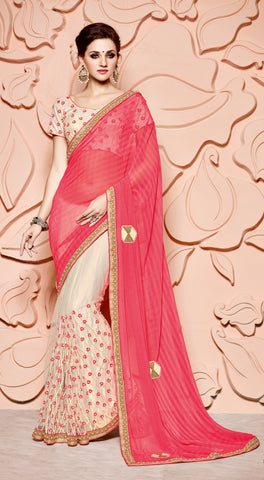 Pink,Chiffon,Designer party wear saree