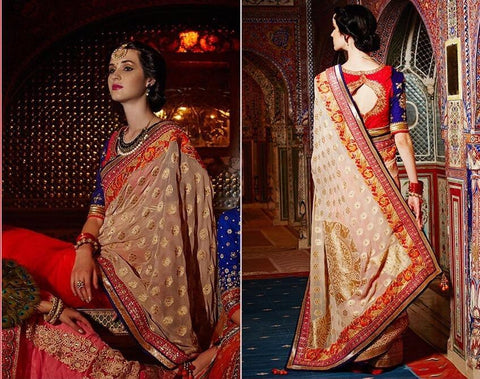 Beige , Red,Viscose,Heavy bridal embroidery saree with designer blouse