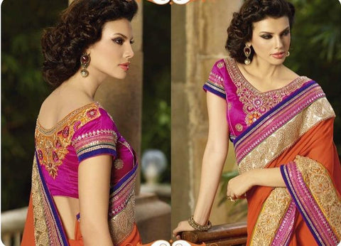 Shop Designer bridal and party wear orange saree with moti and stone work