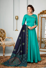 Turquoise Georgette Party Wear Anarkali Dress With Blue Dupatta