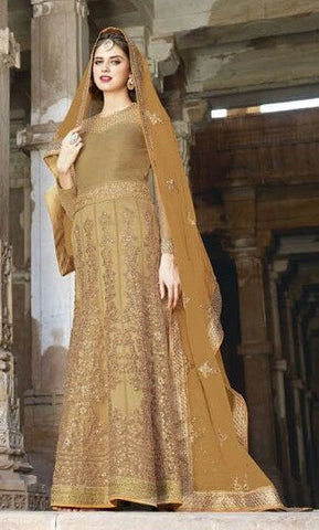 Beige,Net,Heavy designer party wear suits