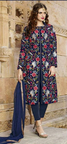 Blue,Viscose,Heavy designer party wear suits