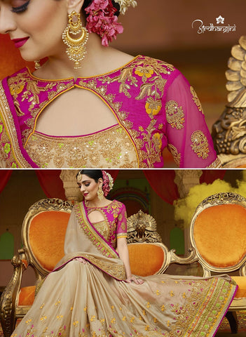Beige Georgette Saree With Pink Blouse