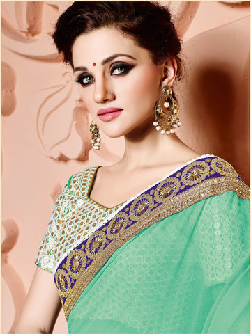 Green Chiffon Saree With Blouse