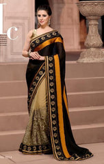 Black and Beige half crepe and net saree with zari embroidery with in 5500