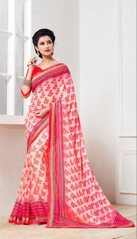 Pink,Georgette,designer causal broder saree with printed blouse