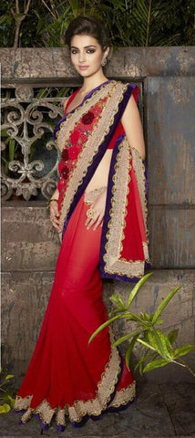 Red,Georgette,Designer party wear saree with designer blouse