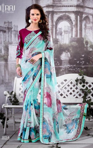 Saree Blue , maroon,Georgette