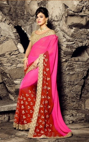 Pink & Red Pure Chiffon Saree With Golden Blouse