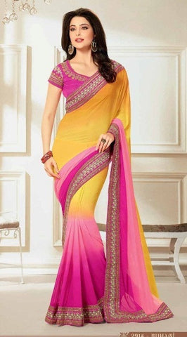Saree Yellow , Pink,Georgette