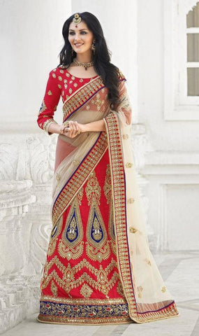Red,Silk,Net,Heavy bridal wedding saree with heavy embroidery blouse