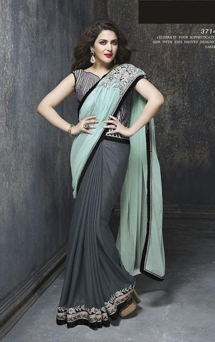Saree Grey , Cyan,Net