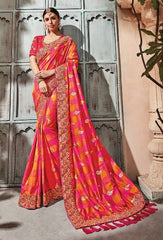 Red Banarsi Silk Party Wear  Saree With Red Blouse