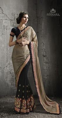 Beige , Black,Georgette,Heavy wedding wear designer saree
