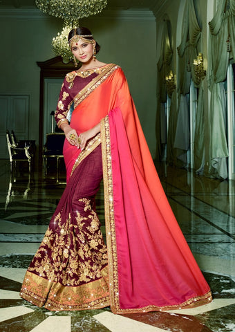 Multicolor,Leno,Party wear heavy saree