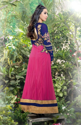 Blue and pink embroidered anarkali floor length long semi stitched suits