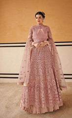 Pastel Pink Fancy Fabric Partywear Anarkali With Pastel Pink Dupatta