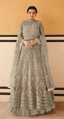 Grey Fancy Fabric Partywear Anarkali Dress With Grey Dupatta