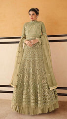 Green Fancy Fabric Partywear Anarkali Dress With Green Dupatta