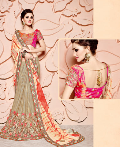 Golden Silk Saree With Pink Blouse