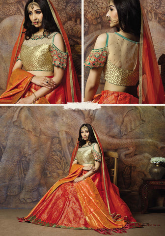 Orange Silk Party Wear Lehenga With Beige Choli