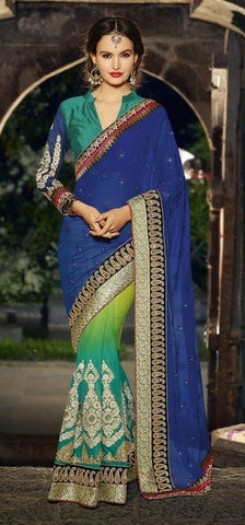 saree Georgette , Silk , Blue , green