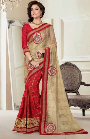 Saree Red , Beige,Half viscose , Half art silk
