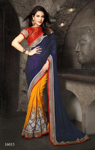 Saree Blue , yellow,Brasso