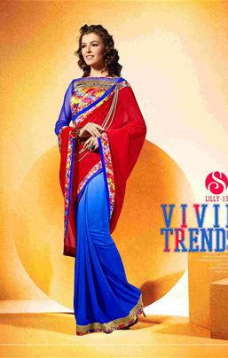 Designer Red and Blue gerogette saree for women