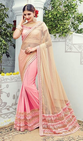 Beige , Pink,Net,heavy designer party wear saree