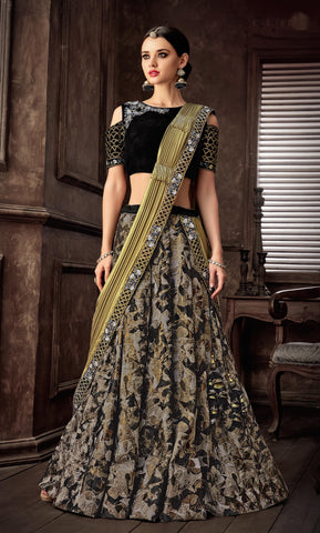 Black Fancy Jacquard Party Wear Lehenga With Gold Dupatta
